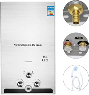 GNEGNIS 18L LPG gas propano sin tanque calentador de agua caliente instantáneo con cabezal de ducha, Calentador de agua de acero inoxidable de encendido automático