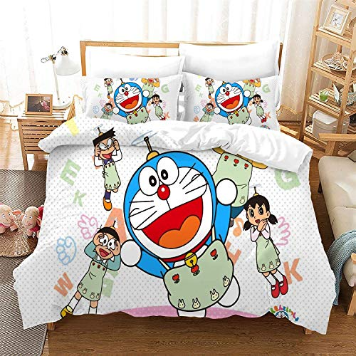 POPCC Doraemon: Doraemon White Background 1004 Bedding Sets, Duvet Cover Sets, for Otaku and Anime Fan's Room 3Pcs 1 Quilt Cover & 2 PillowcaseEU Super King(260x220cm)