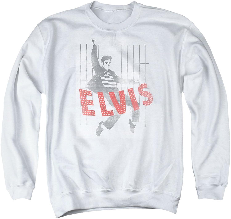 Elvis Presley The King of Rock Musical Icon Jailhouse Pose Adult Crew Sweatshirt