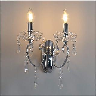 KOSILUM - Applique 2 bras cristal baroque pampilles argent - Pavia - EN SOLDES ! - Lumière Blanc Chaud Eclairage Salon Cha...