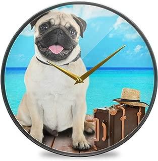 Chovy 掛け時計 サイレント 連続秒針 壁掛け時計 インテリア 置き時計 北欧 おしゃれ かわいい いぬ 犬柄 パグ 青 ブルー 部屋装飾 子供部屋 プレゼント