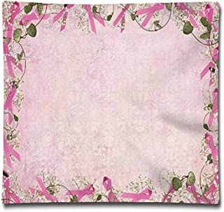 Rdkekxoel Pink Breast Cancer Ribbon and FlowersThrow Pillow Cushion Cover,Decorative Square Accent Pillow Case, 18 X 18 inches