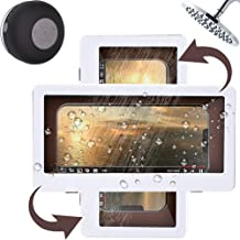 Shower Phone Holder Waterproof Phone Case Mount 360° Rotating Portrait Landscape Touch Screen Viewing Modes for Shower Bathroom Holder Under 6.8 inch from KEJIU (White)