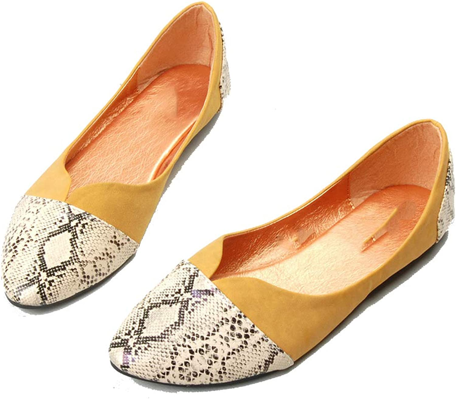 WodCht Spring Autumn Women's Loafers Loafers Women Flat Heel shoes Boat shoes,Yellow,5
