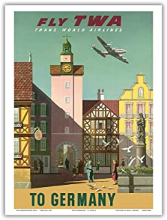 Germany - Fly TWA Trans World Airlines - Vintage Airline Travel Poster by S. Greco c.1950s - Master Art Print - 9in x 12in