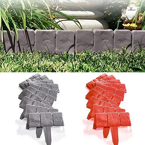 NJYBF Rasenkante Beeteinfassung Kunststoff als Steckzaun Rollboarder, Steinoptik, für Home Garten Dekoration. (20 PCS, Grau)
