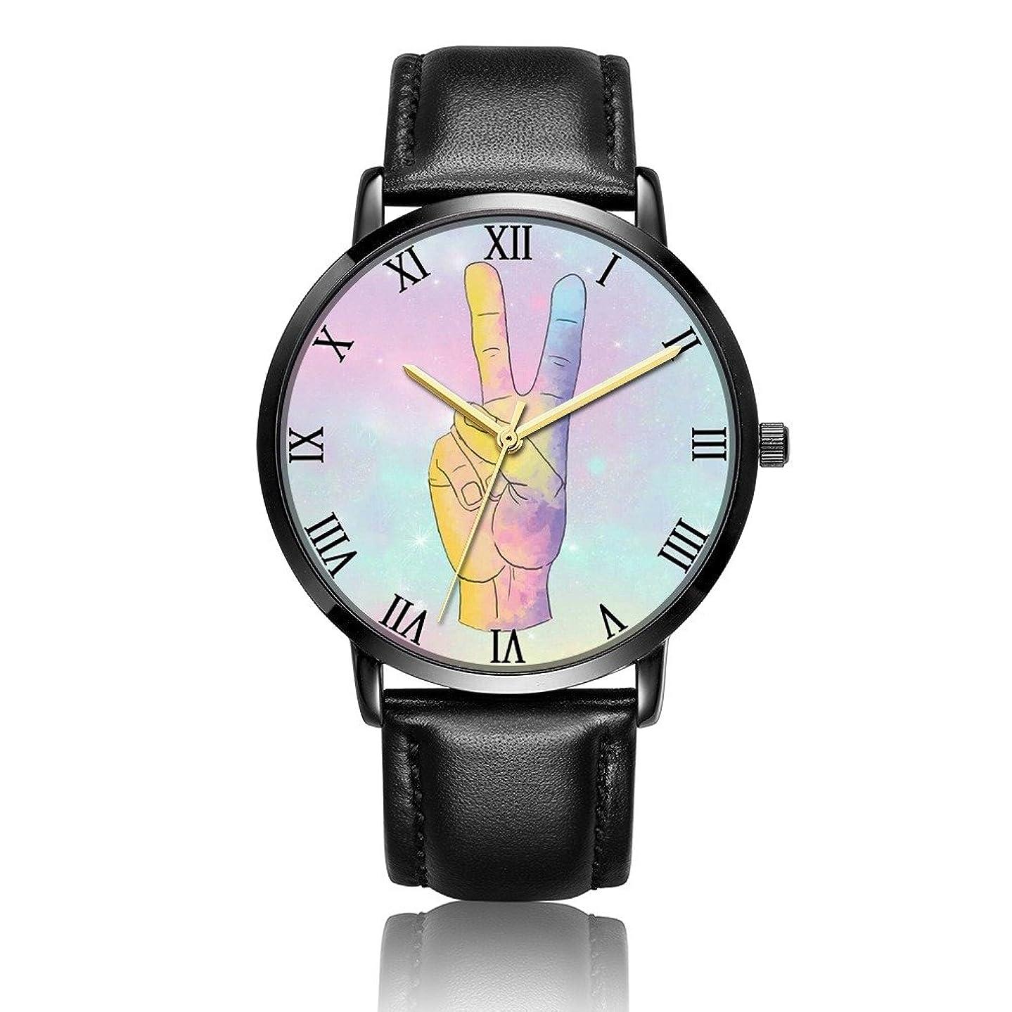 Whiterbunny Customized Hand Peace Sign Galaxy Wrist Watch Unisex Analog Quartz Fashion PU Leather Bracelet Wristwatch for Women and Men