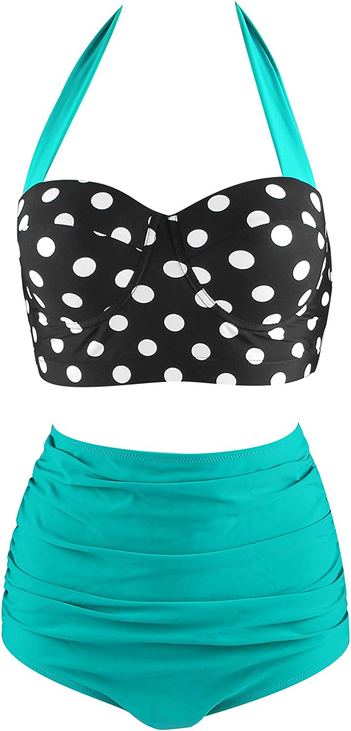 Girls Retro High Waisted Swimsuits, Vintage Tankini Swimsuits Cheeky Bikini Halter Swimsuit for Women Tummy Control