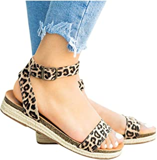 Women's Leopard Print Flats Open Toe Ankle Strap Buckle Sandals Thick-Soled Cork Slippers