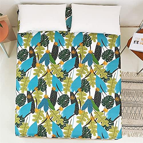 LLKK Home Plants - Funda de cama de poliéster con estampado floral para cama individual, tamaño king, cama individual, sábana bajera ajustable y protector de cama (color: BM017, tamaño: 180 x 200 cm)