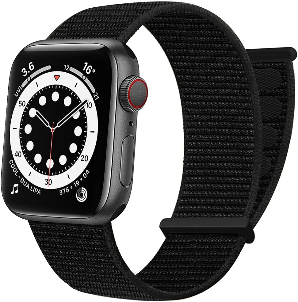 AdMaster Sport Nylon Velcro Band Compatible with Apple Watch 38mm 40mm 41mm, Adjustable Breathable Woven Men Women Braided Strap Compatible for iWatch Series 7/6/5/4/3/2/1 SE 38/40/41 mm Dark Black
