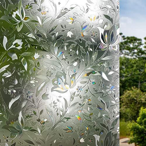 Volcanics Fensterfolie Selbsthaftend Blickdicht Sichtschutzfolie Fenster 3D Fensterfolie 44.5 x 200 cm Sichtschutz Glasfolie Statisch Haftend UV-Schutz ohne Kleber Dekofolie Blumen