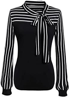 Women Blouse Daoroka Ladies Striped Bow Tie Long Sleeve Splicing Casual Loose Spring Summer Autumn Pullover T-Shirt Tops (L, Black)