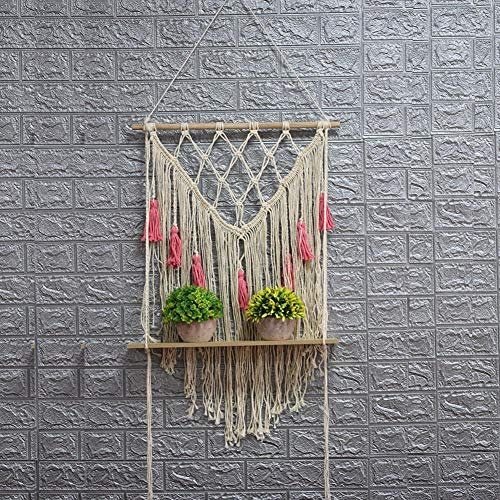 Mississ Handgewebte Tapisserie Makramee Gewebt Wandbehang Tapisserie Böhmischen Wandbehang Dekoration Malerei DIY Wand Rack Cotton Line Decke, Pink & Beige Successful