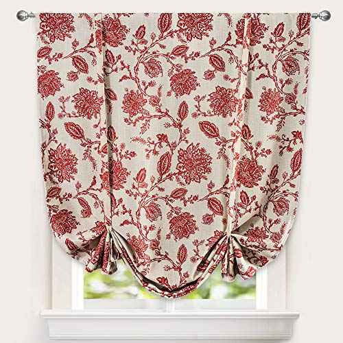 DriftAway Freda Jacobean Floral Linen Blend Room Darkening Thermal Insulated Energy Saving Tie Up Adjustable Balloon Rod Pocket Curtain 45 Inch by 63 Inch Red Beige
