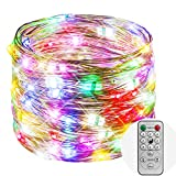 Koopower 9 Modes Speed Adjustable Fairy Lights, 36ft 100 LED Battery Operated String Lights, Dimmable and Waterproof Twinkle Lights for Gardens, Homes, Wedding, Holiday, Xmas Decorations (Muticolor)