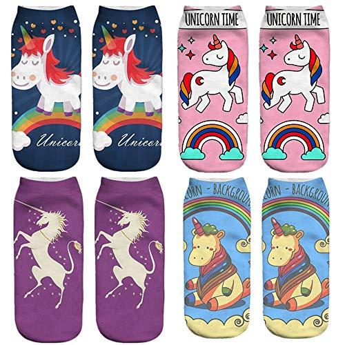 Dizie - Calcetines de unicornio para niñas en 3D, diseño de dibujos animados, divertidos y cómodos, informales