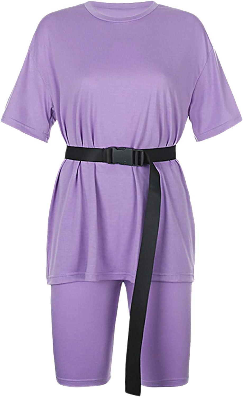 Women 2 Piece Outfits Sets Casual Oversized T-Shirt Biker Short Sets Workout Sports Tracksuit with Belt