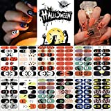 12 Sheets Halloween Nail Wraps Nail Art Stickers, Self-Adhesive Full Wrap Nail Polish Stickers Decals Strips Pumpkin Bat Ghost Spider Vampire Pattern for Halloween Party Nail Decor