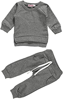 Newborn Baby Boy Girl 2Pcs Clothes,Long Sleeve Shirt Tops Sweatsuit Pants with Pockets Outfit Set