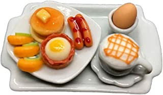 1 Dollhouse Miniature Food: Breakfast Set [ Pancake Set,Soft-boiled Egg And Coffee], Little world Breakfast Set Collectibles,Size 1:12.