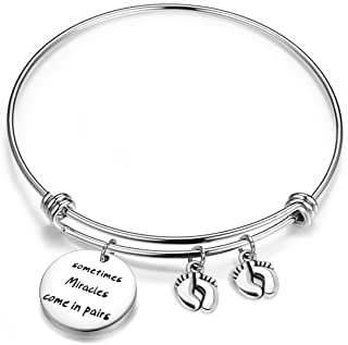 bobauna Mom of Twins Gift Sometimes Miracles Come in Pairs Expandable Wire Bangle Bracelet Keychain Twins Jewelry