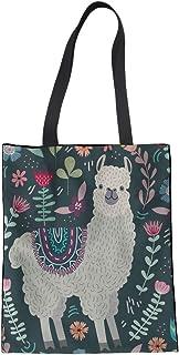 Nopersonality Nopersonality Einkaufstasche aus Segeltuch, faltbar, Einkaufstaschen für Frauen und Mädchen, niedlicher Blumen-Lama-Druck, Recycling-Baumwolle, Schultertasche
