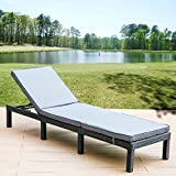 Garden Rattan Sunlounger Outdoor Recliner Rattan Furniture with Removable Gray Cushion