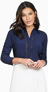 Camisa Social Feminina Marinho Principessa Ramona