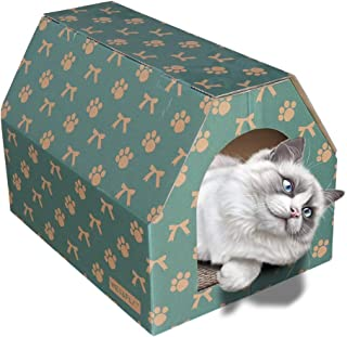 WEY&FLY Paper Portable Kennel Cat Cages Small Animal Cage Dog House Puppy Teddy Mongolian Cats Cage Portable Car Seat Kennel Cat Bed Collection Nest Crate for Pets