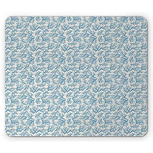Marine muismat, exotische diepte illustratie van de koraalgreep onderwateroceaanpatroon eenatuur-kruiden, beige en blauw