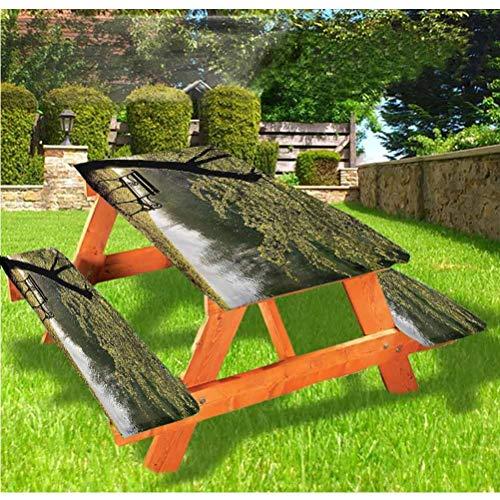Mantel ajustable para mesa de picnic y banco de árbol, reposar en Riverside con borde elástico, mantel de 60 x 72 pulgadas, juego de 3 piezas para camping, comedor, exterior, parque, patio