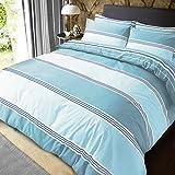 Sleepdown Banded Stripe Teal Juego de Funda de edredón tamaño King, algodón, Verde Azulado, Matrimonio