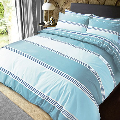 Sleepdown Banded Stripe Teal Reversible Soft Duvet Cover Quilt Bedding Set With Pillowcases - Super King (220cm x 260cm)