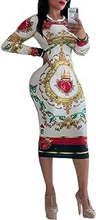 Bestgift Women's Crew Neck Long Sleeve Poker Face Bodycon Dress