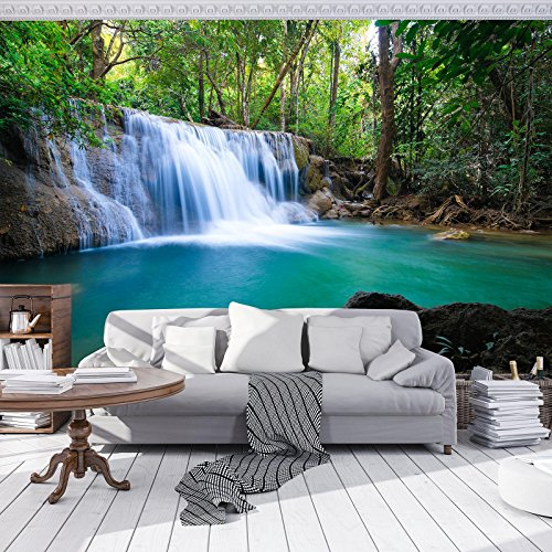 FORWALL cascada–Papel pintado fotográfico Photo Wallpaper Mural amf11893_ P Natural Paisaje cascada agua Río Montañas, carbón, P8 (368cm. x 254cm.)