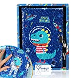 Dinosaur Sequin Diary for Boys with Lock and Keys, Dinosaurs Journal Notebook for Kids, Sequin Space Notebook 160 Pages for Writing and Drawing, Dinosaur Birthday Gifts for Boys