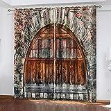 CQDSQN Cortina 3D De Dormitorio Puerta Arqueada Vintage 234 X 183 cm Cortinas Opacas con Aislamiento para Salón Dormitorio Y 2 Paneles Poliéster Cortina