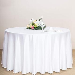 LIVHOOU Nappe Ronde Blanche Jupe de Table Ronde en Polyester, Nappe Ronde Anti-Tache pour Table Cuisine Restaurant Salle à...
