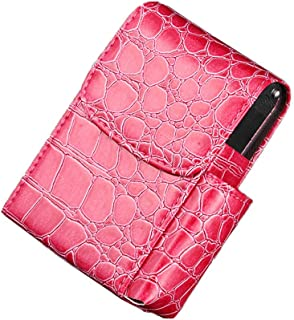 Trigle Leather Cigarette Case Flip Top Tobacco Holder Pouch Best Gift for Men Women (Hot Pink)