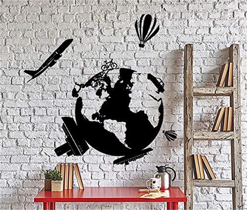 pegatina de pared pegatina de pared 3d Mapa mundial de viajes Avión de globos aerostáticos Avión a domicilio 24 x 24 pulgadas