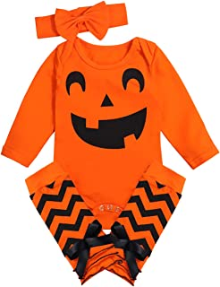 Halloween Outfits Baby Girl Newborn Clothes Pumpkin Romper with Headband and Leg Warmers 3Pcs Set