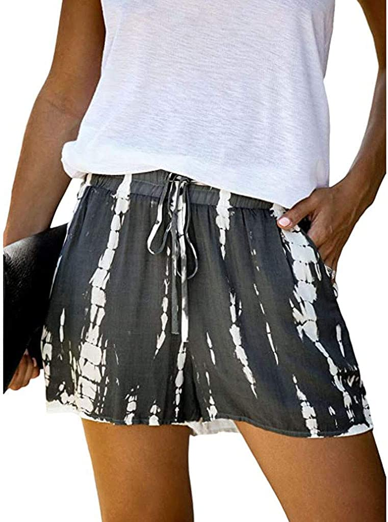 Hessimy Summer Shorts for Women,Womens Drawstring Elastic Waist Casual Summer Loose Beach Tie dye Shorts with Pockets