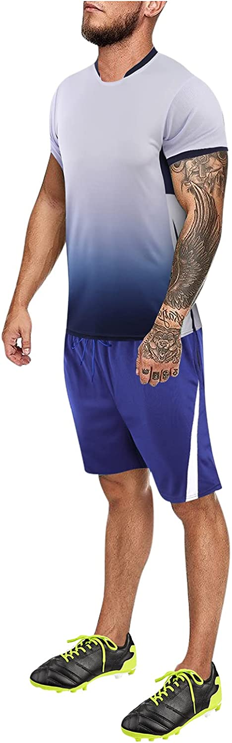 Men's Rompers 2021 Summer Gradual Breathable Quick-Dry Sport Shorts Set Outdoor Sports Training Football Sets