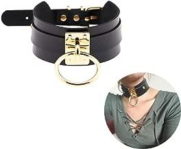Black Choker Necklace Classic Punk Goth Choker Gothic PU Leather O-Ring Collar Choker Metal for Girls Women Gold Color