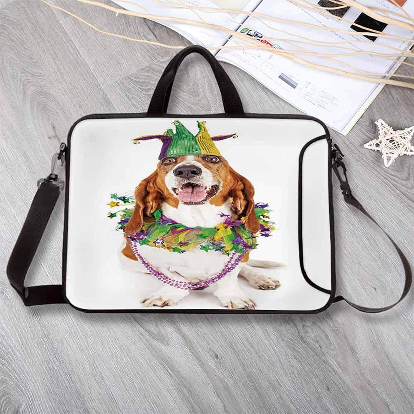 """Mardi Gras Printing Neoprene Laptop Bag,Happy Smiling Basset Hound Dog Wearing a Jester Hat Neck Garland Bead Necklace Decorative Laptop Bag for 10 Inch to 17 Inch Laptop,14.6""""L x 10.6""""W x 0.8""""H"""