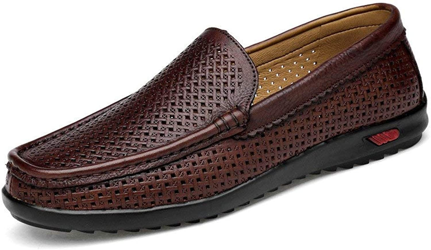 FuweiEncore Men's Moccasins shoes, Classic Men's Driving Penny Loafers Casual Slip-On Boot Moccasins Rubber Sole (color  Crocodile Brown, Size  43 EU) (color   Hollow Brown, Size   47 EU)