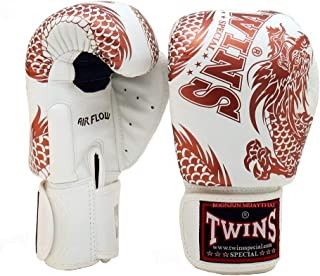 Twins Special Muay Thai Boxing Gloves BGVLA 2 Air Flow Gloves. Univesal Gloves for Training or Sparring. (FBGV49 White/Copper, 16 oz)