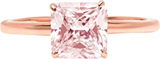 2.0 ct Brilliant Asscher Cut Solitaire Pink Simulated Diamond CZ Ideal VVS1 D 4-Prong Engagement Wedding Bridal Promise Anniversary Ring Solid Real 14k Rose Gold for Women