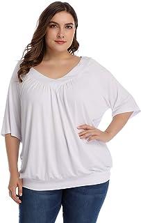 Women's Plus Size Pleated Flowy Top V Neck Half Sleeve Elastic Hem Loose Blouse Tunic T Shirt